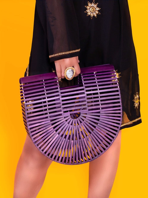 Purple Bamboo Clutch Large