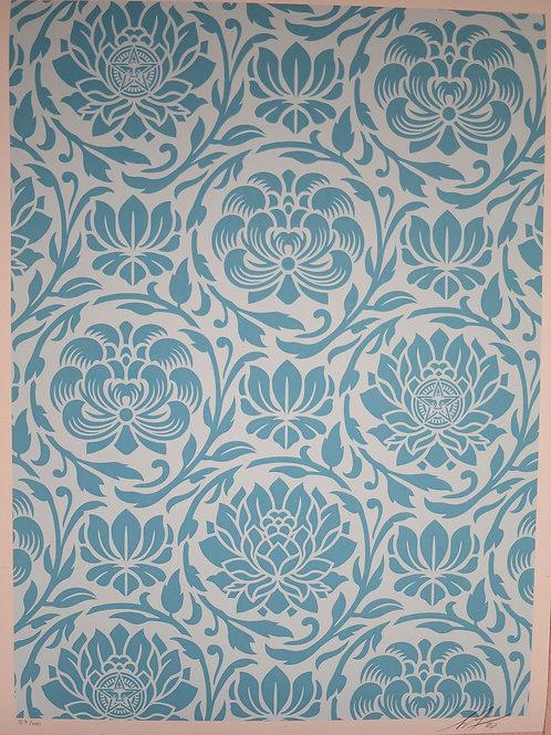 Floral Harmony Light Blue Yin Yang (version1