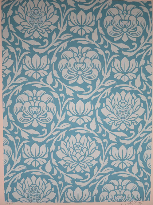 Floral Harmony Light Blue Yin Yang (version2)