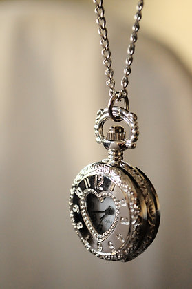 Silver Heart Pocketwatch Pendant