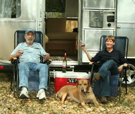 Stanley, Rusty and Cinda lounging near the airstream