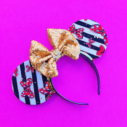 Stripes and Bows Mouse Ears