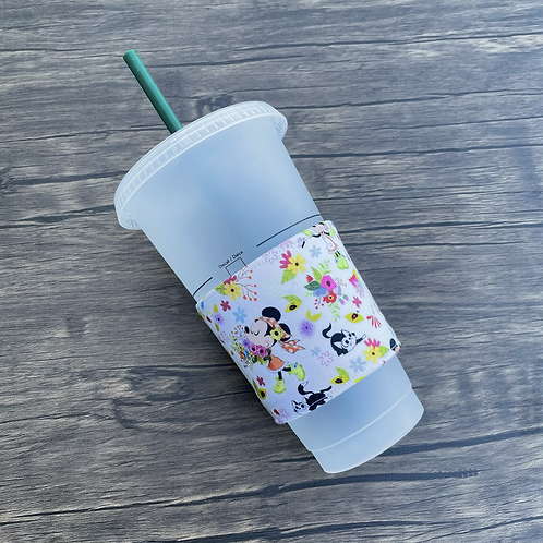 Minnie In Bloom Coffee Cozy (white base only)