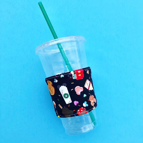 Yummy Snacks Coffee Cozy (Black Fabric)