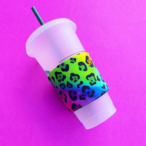 Rainbow Cheetah Coffee Cozy