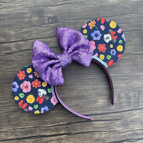Flower Power Mouse Ears (Navy base)