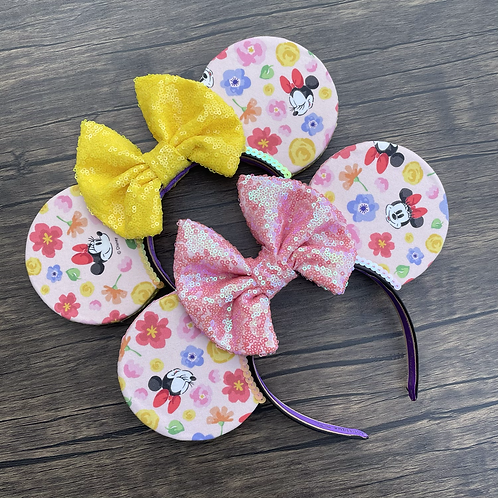 Flower Power Mouse Ears (Pink Base)
