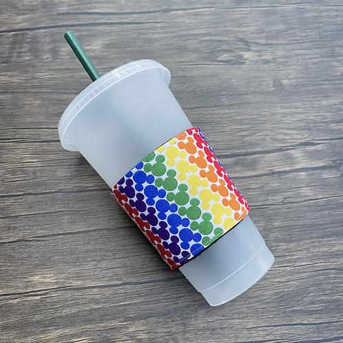 Rainbow Mouse Coffee Cozy