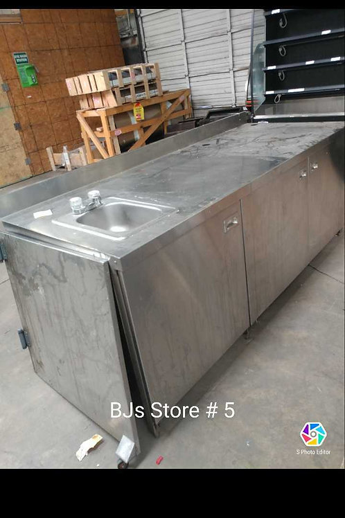 1-0108 Stainless Steel Table with Doors and Sink