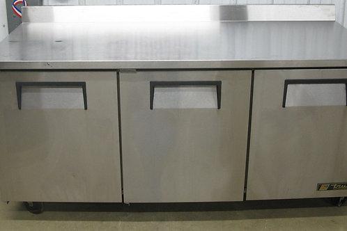 142-0072 True 6′ Stainless Steel 3 Door Work Top Refrigerator Cooler