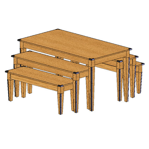 74-0015 Large 5 Piece Nesting Table Set