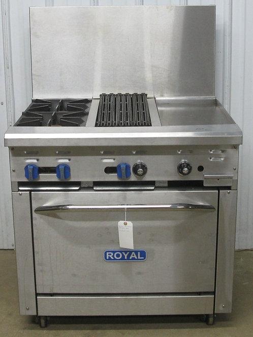 142-0032 Royal 36″ Natural Gas Stainless 2 Burner Range with 12″ Griddle,