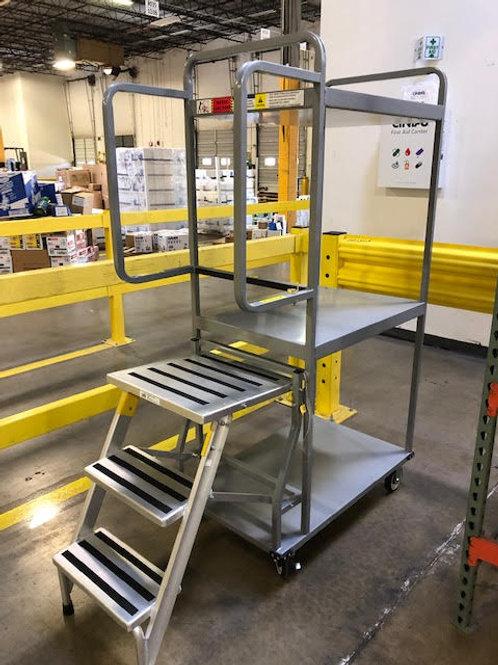 136-0001 Aluminum Stocking Cart with Ladder