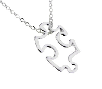 Silver Plated Puzzle Piece Charm Necklace