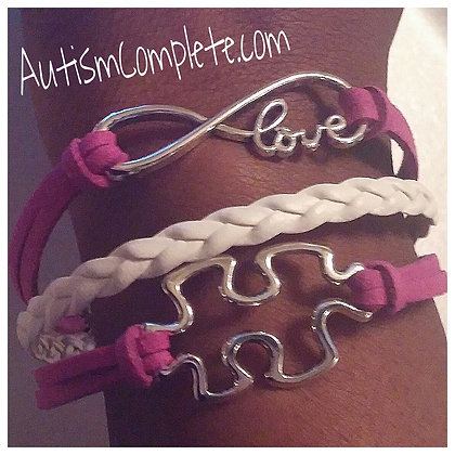 Peace, Love, and Autism Infinity Bracelet
