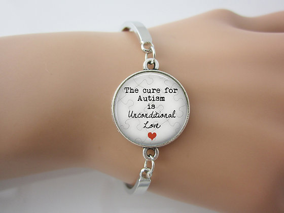 The Cure For Autism is Love Pendant Bangle