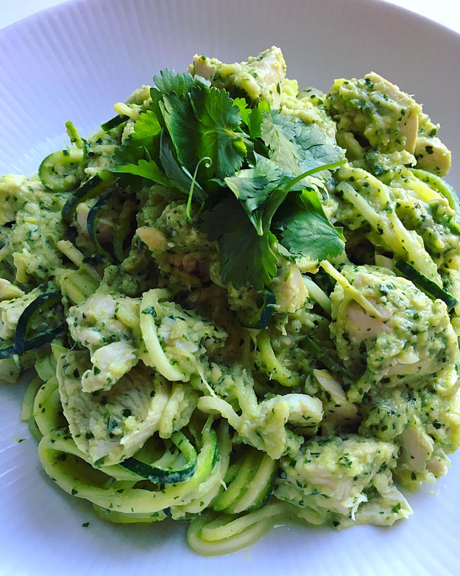 Artichoke & Chicken Pesto Courgetti