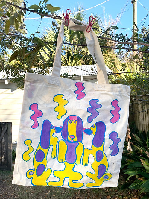 Picasso Dogs (hand painted tote)