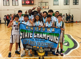We are the State Champions! Middle School Boys Basketball Team