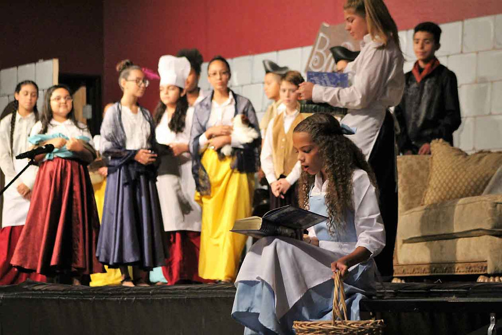 Beauty and Beast Scene with the townspeople
