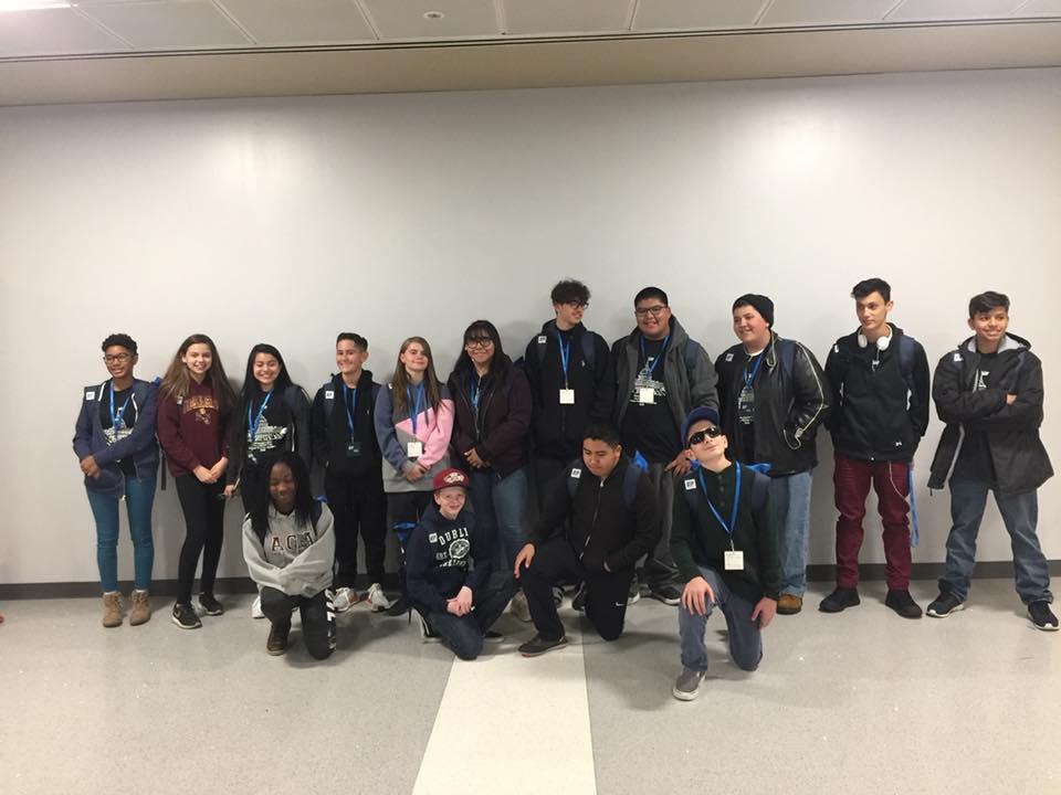 Students waiting at airport