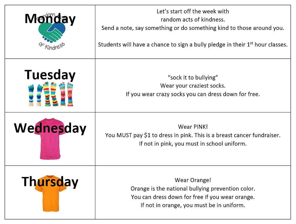 Bully Prevention Spirit Week  Image