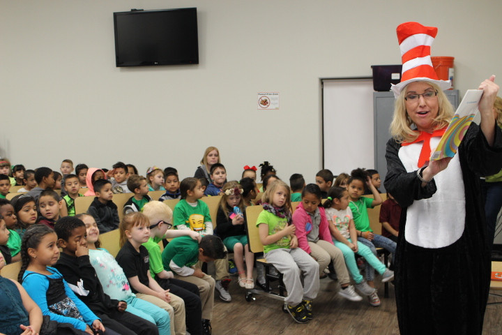 The Cat in the Hat reading to ACA Kinders