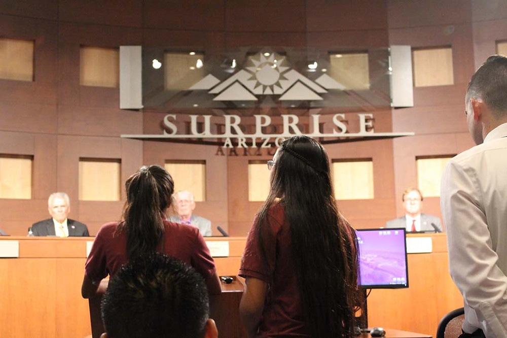Middle School students addressing the City of Surprise, City council
