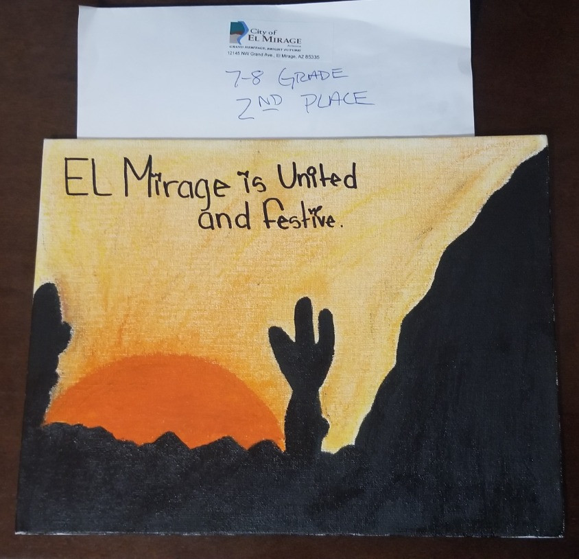 2nd place winning art piece of desert sunset