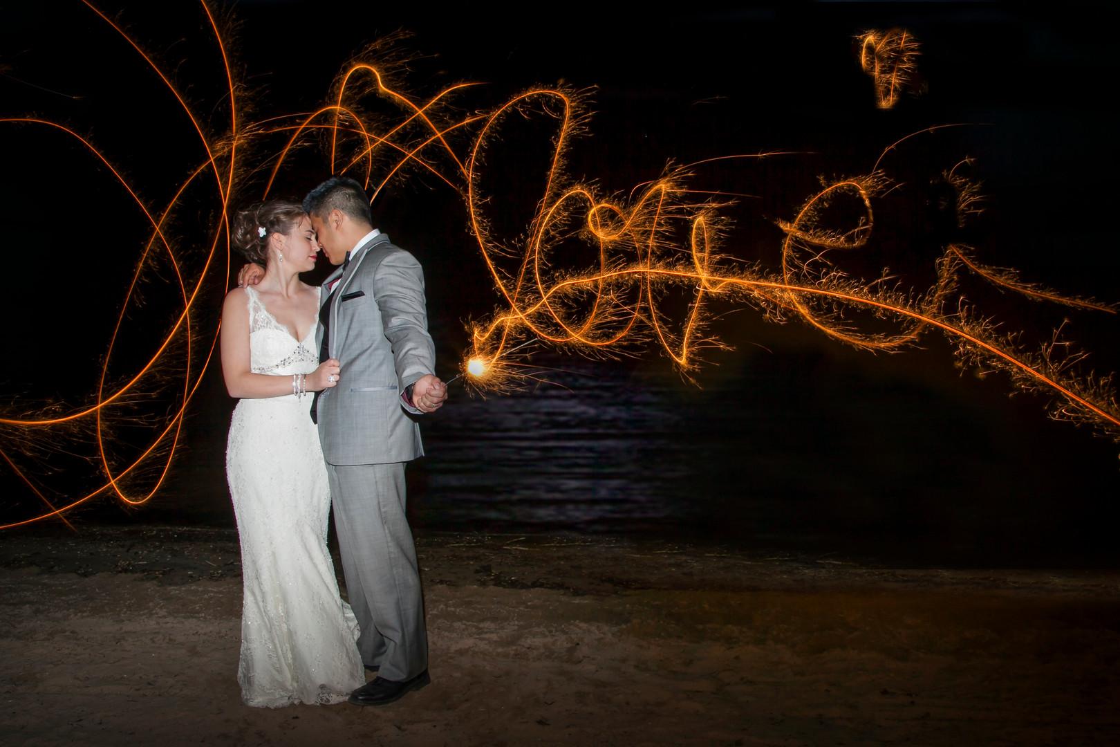 sparkler wedding photography