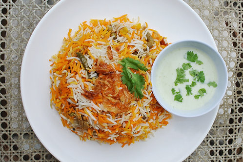 Vegetable Dum Biryani with egg
