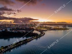 Auckland CBD Sunset Aerial