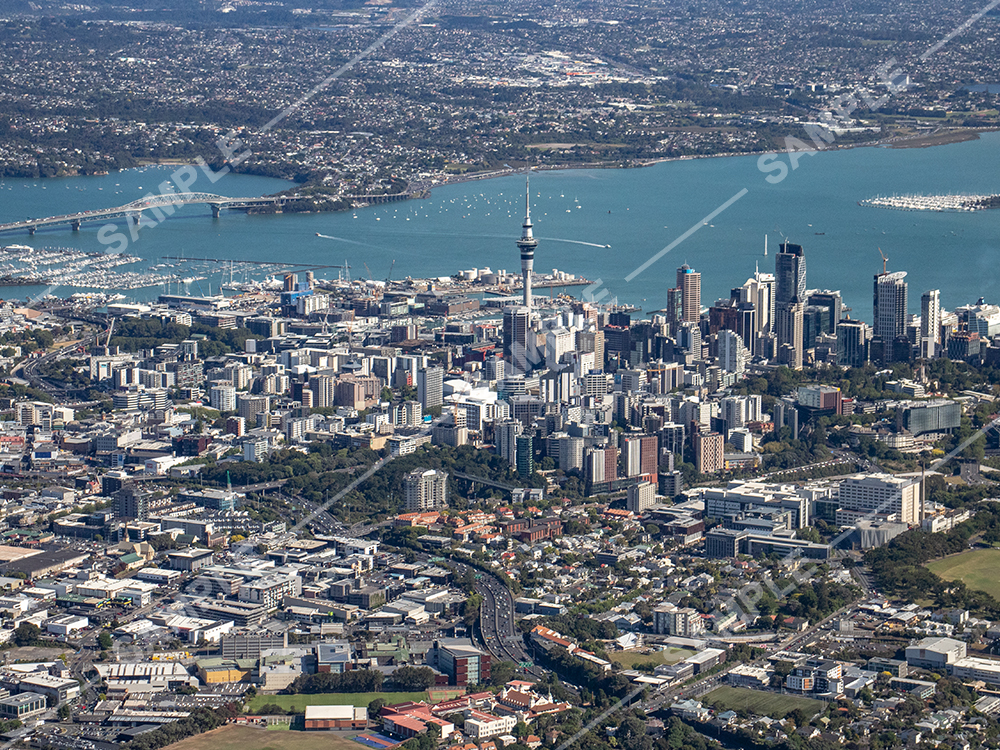 Auckland CBD helicopter aerial