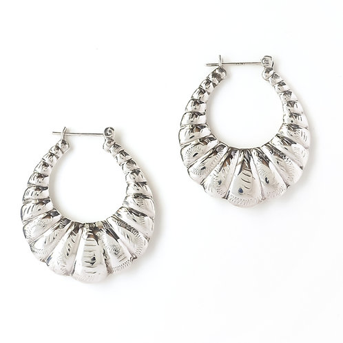 Engraved Puffy Hoops - Large