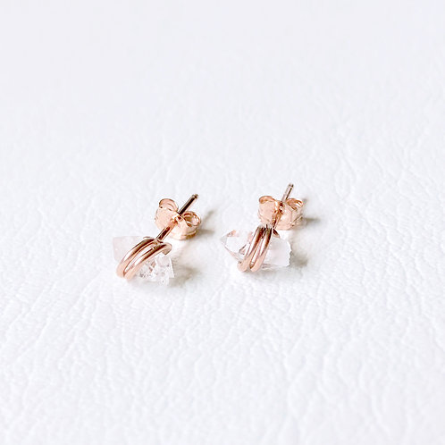 Tiny Herkimer Diamond Studs