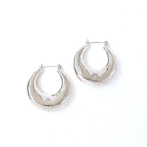 Tapered Puffy Engraved Hoops