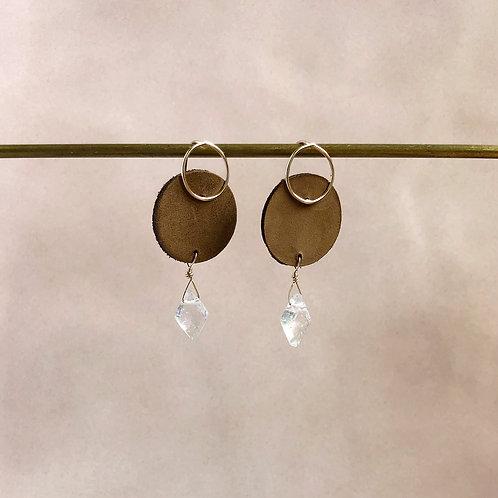 Small Leather & Clear Quartz Drop Earrings