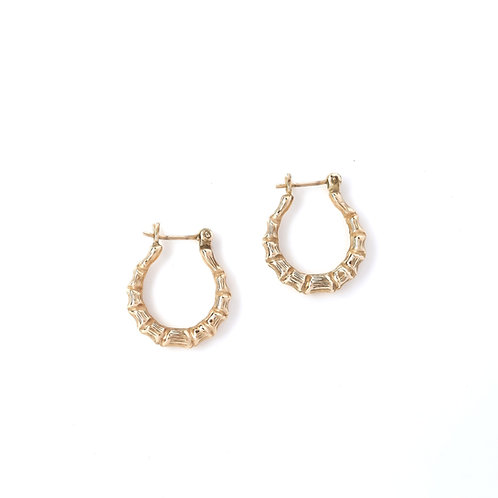 14k Gold Bamboo Hoops