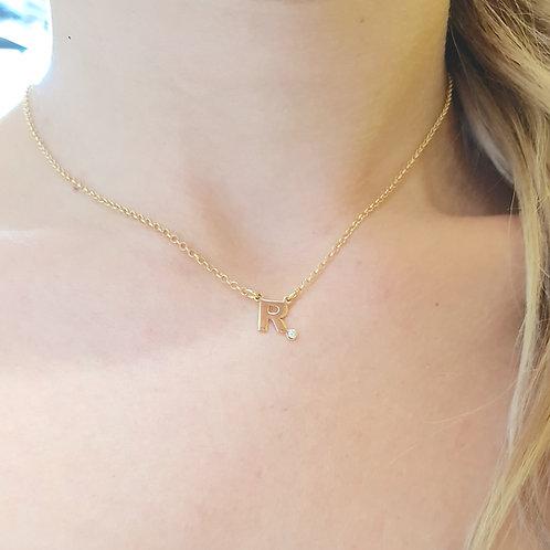 """Collana in Oro con Iniziale e Diamante """"Personalizzabile"""""""