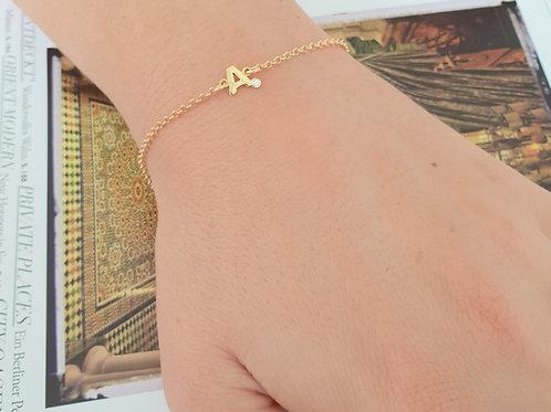 """Bracciale in Oro con Iniziale e Diamante """"Personalizzabile"""""""