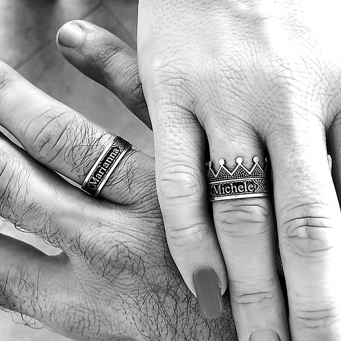 """King and Queen Argento 925 """"Personalizzabile"""""""