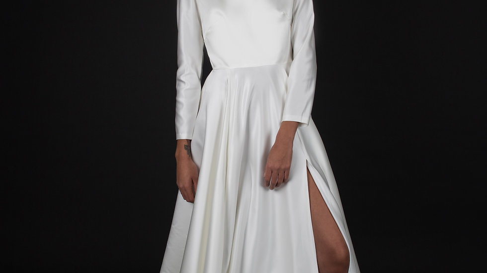 Long Sleeve Slit Front Gown
