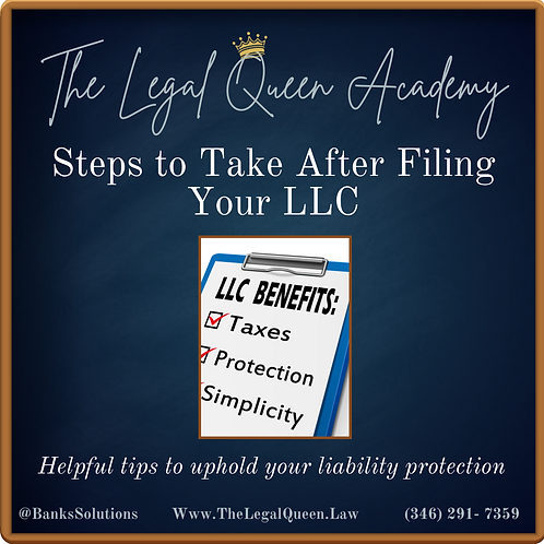 """E-Course"""" Steps to Take After Filing Your LLC"""""""