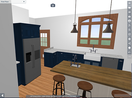 rendering of restored historic old house - kitchen