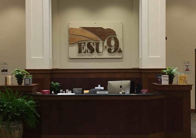 ESU9 Custom Wood Reception Desk Sign