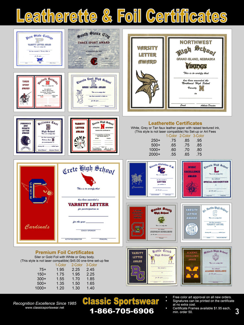 Leatherette & Foil Certificates