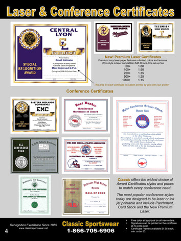 Laser & Conference Certificates