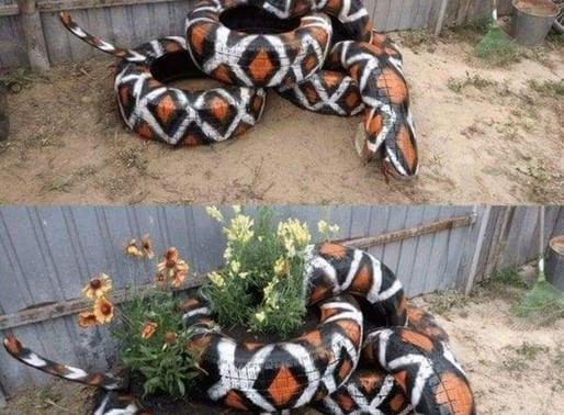 Garden tyre snake