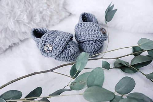 Grey Crochet Knitted Boots