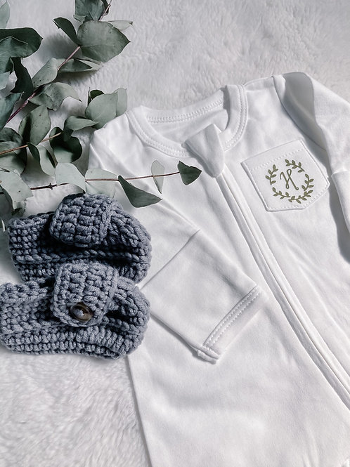 Newborn Zip Sleepsuit (100% Organic Cotton)